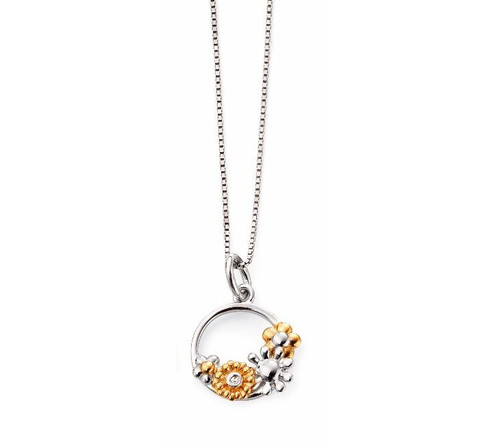 D for Diamond Flower Circle Pendant P4515