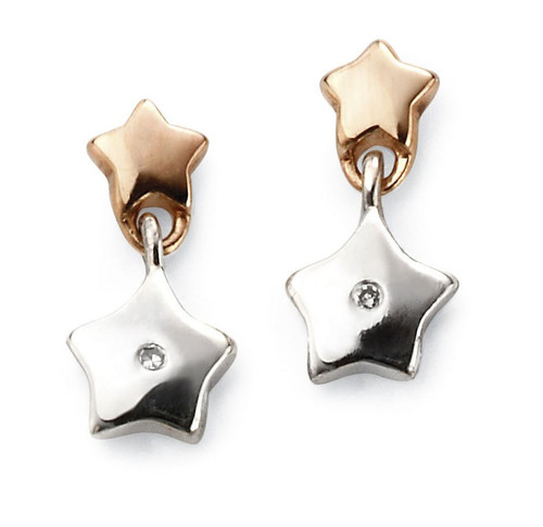 D for Diamond Double Star Drop Earrings - E5482