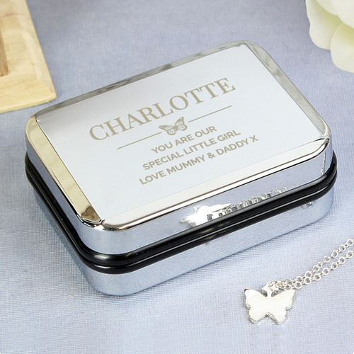Butterfly pendant with engraved box