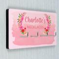 Personalised Pink Flower Jewellery Wall  Hooks
