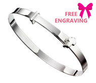 Sterling Silver Cross Expanding Baby Bangle