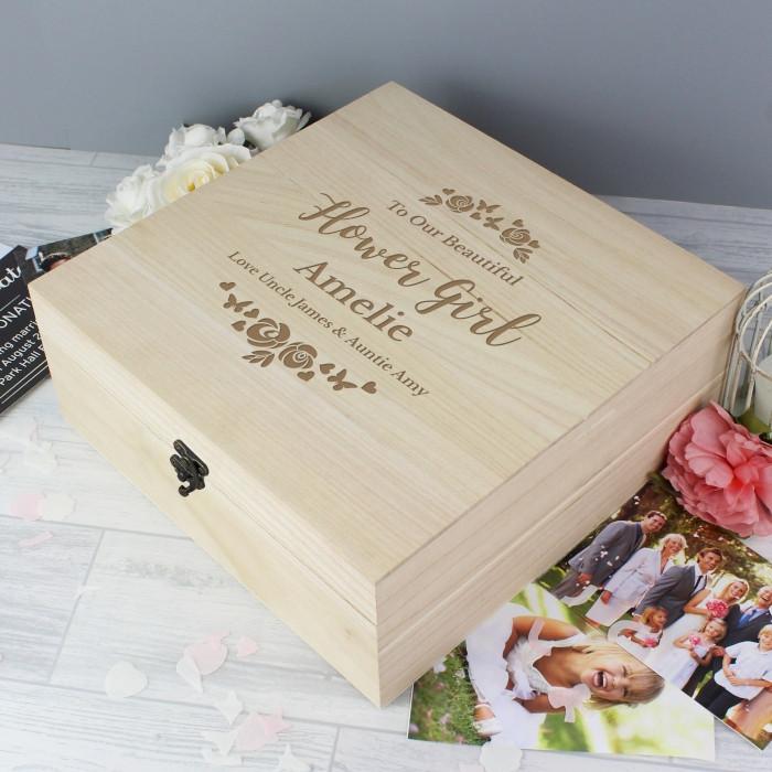Personalised Natural Wood Floral Keepsake Box