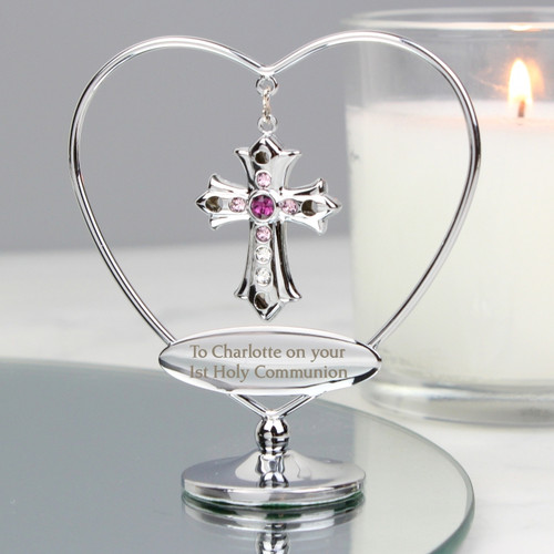 Personalised First Holy Communion Pink Crystal Cross Ornament