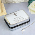 First Holy Communion engraved gift box and cross necklace