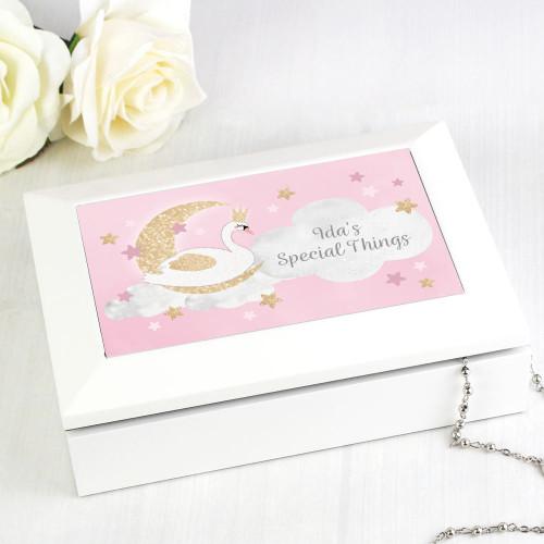 Personalised Swan Lake White Wooden Jewellery Box