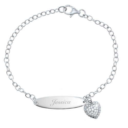 Engraved Girl's Sterling Silver and Cubic Zirconia Bracelet