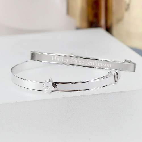 Engraved star baby bangle