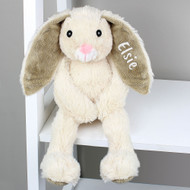 Personalised soft bunny toy with embroidered ear