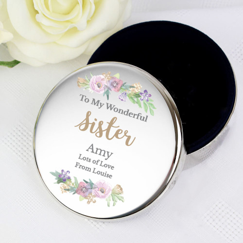 Personalised Pretty Floral Round Trinket