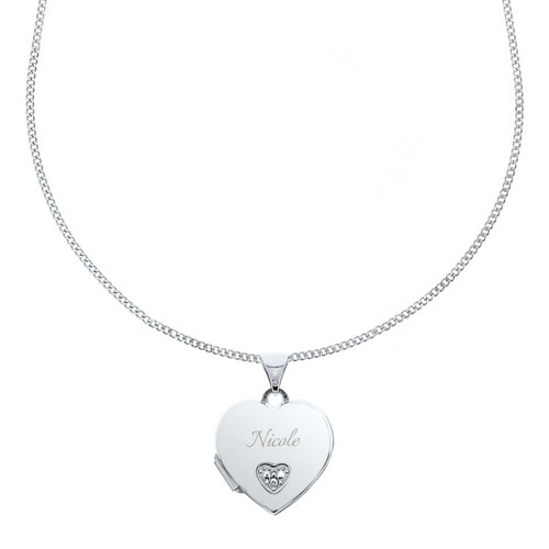 Girls Engraved CZ Heart Sterling Silver Locket