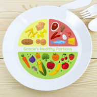 Personalised Kids Healthy Eating Portions Plastic Plate