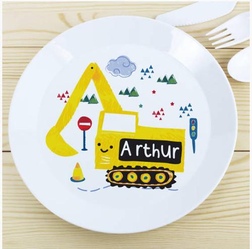 Personalised Kids Digger Plastic Plate