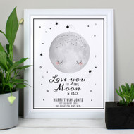 Personalised Baby To The Moon and Back White Framed Print (P0512AB62)