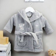 Personalised Elephant 0-6 Months Grey Hooded Baby Dressing Gown (P0710K04)