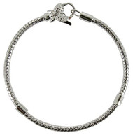 Girls silver snake chain bracelet for beads with butterfly clasp 18cm