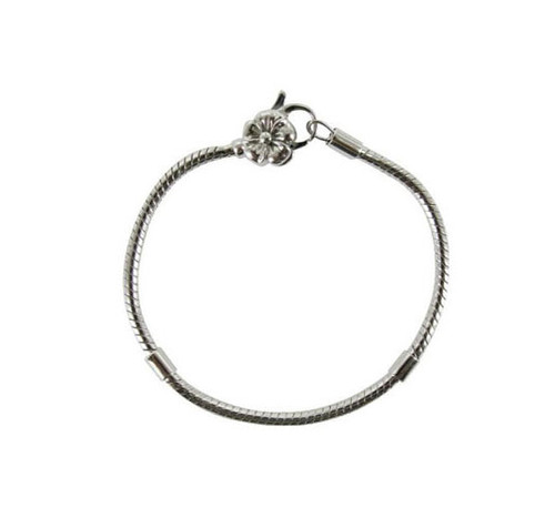 Girls silver snake chain bracelet for beads with flower clasp 16cm
