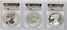 2006-W Silver Eagle 3-Coin SP70,PR70,PR70 Rev.  PCGS 20th Anniv. Flag Mercanti signed label
