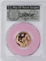 2018-W $5 Gold Breast Cancer Awareness PR70 PCGS FDOI Thomas Cleveland Veteran label