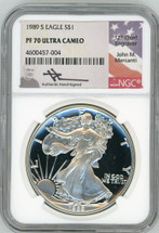 1989 S Proof ASE PF70 NGC Ultra Cameo Flag Mercanti