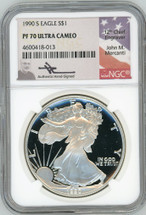 1990 S Proof ASE PF70 NGC Ultra Cameo Flag Mercanti