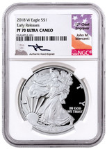 2018 W Proof ASE PF70 NGC Ultra Cameo Early Releases Flag Mercanti