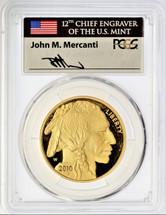 2010-W $50 Proof Gold Buffalo PR70 PCGS Flag Mercanti *POP 6*