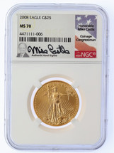 2008 $25 Liberty Gold Eagle MS70 NGC Mike Castle