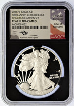 2016 W Proof ASE PF69 NGC Ultra Cameo 30th Anniv Lettered Edge Congrats Set Mercanti