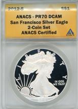 2012-S Silver Eagle PR 70 DCAM ANACS San Francisco Silver Eagle