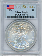 2004 Silver Eagle MS70 PCGS Flag First Strike