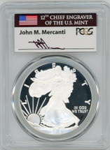 2018-W Proof Silver Eagle PR70 PCGS First Strike Mercanti flag label