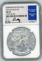 2013 W $1 Burnished Silver Eagle MS70 NGC Ed Moy