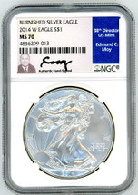 2014 W $1 Burnished Silver Eagle MS70 NGC Ed Moy