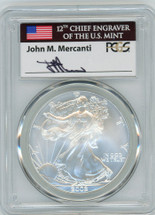 2002 $1 Silver Eagle MS70 PCGS John Mercanti Flag Label
