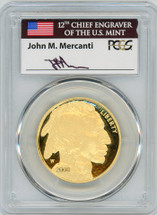 2008-W $50 Proof Gold Buffalo PR70 PCGS John Mercanti Flag