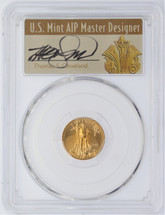 2015 $5 Gold Eagle MS70 PCGS Narrow Reeds First Strike Thomas Cleveland Art Deco