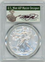 2018-W Burnished Silver Eagle SP70 PCGS First Day of Issue T CLeveland Master Designer Label