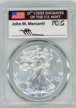 2018 Silver Eagle MS70 PCGS FDOI flag Mercanti