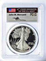 1989-S Proof Silver Eagle PR 70 DCAM PCGS Mercanti Signed - PRICE GUIDE $675