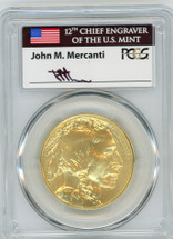 2014 $50 Gold Buffalo MS70 PCGS First Strike flag Mercanti