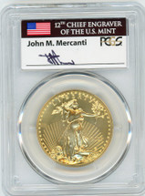 2006 $50 Gold Eagle MS70 PCGS First Strike flag Mercanti