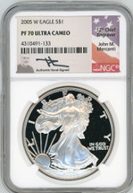 2005 W Proof Silver Eagle PF 70 NGC Ultra Cameo Mercanti Signed - TINY POPULATION!