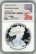 2006 W Proof Silver Eagle PF 70 NGC Ultra Cameo Mercanti Signed - TINY POPULATION!