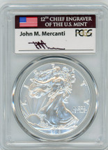 2018-W Burnished Silver Eagle SP70 PCGS First Strike flag Mercanti
