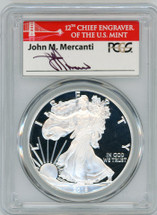2018-S Proof Silver Eagle PR70 PCGS First Strike Mercanti red bridge