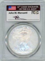 2008-W Burnished Silver Eagle SP70 PCGS flag Mercanti