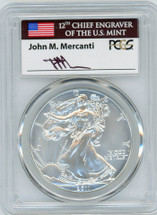 2011-W Burnished Silver Eagle SP70 PCGS flag Mercanti