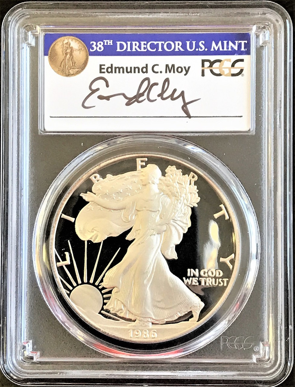 1986-S Silver Eagle Proof PR70 PCGS Moy Signed -Rare Blue Label Price Guide  $1875