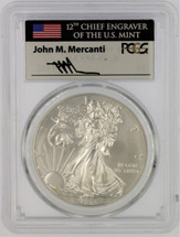 2013-W Burnished Silver Eagle SP70 PCGS flag Mercanti