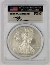 2014-W Burnished Silver Eagle SP70 PCGS flag Mercanti